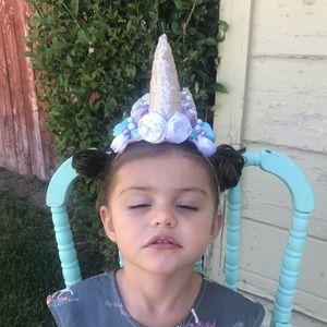 New Unicorn headband with silver & blue detail